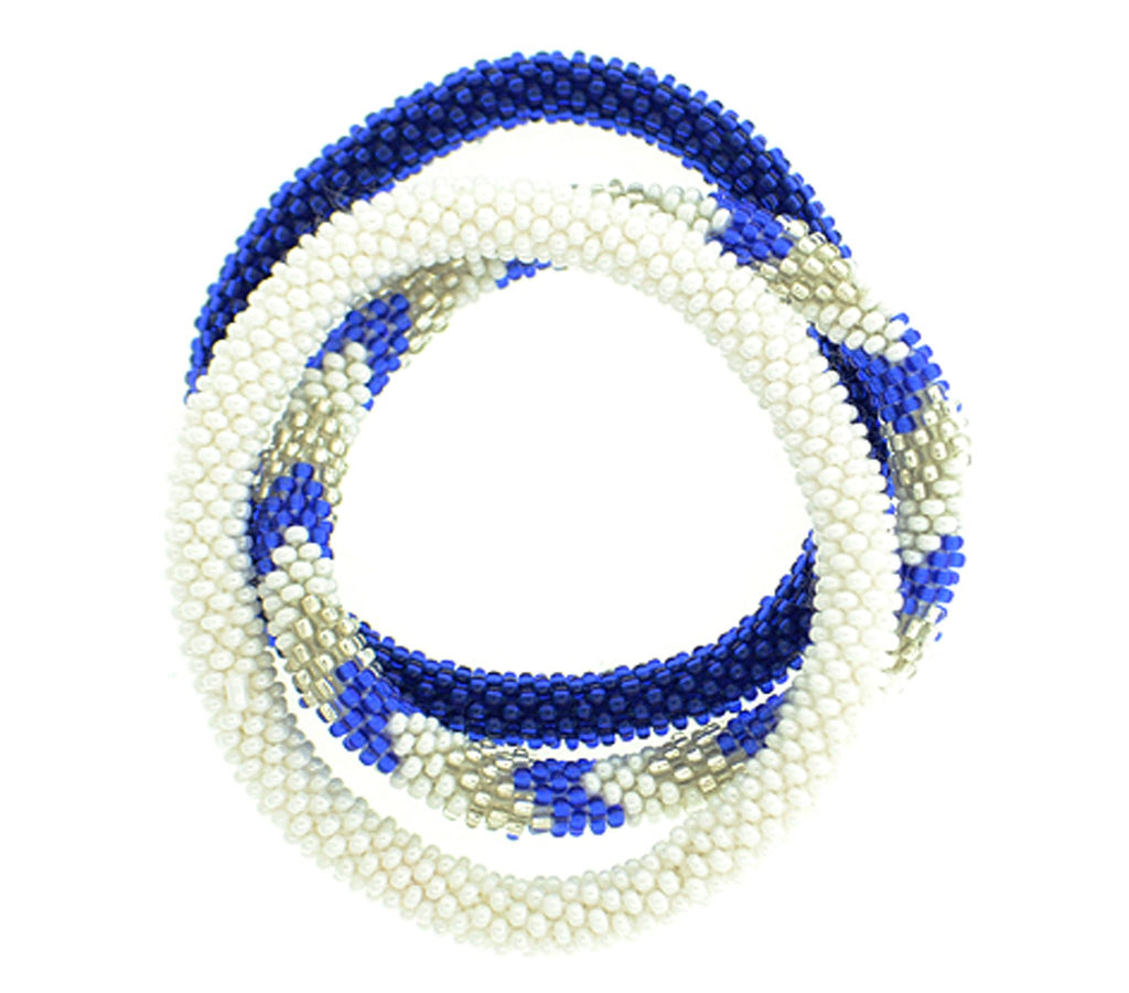Team Spirit Roll-On® Bracelets <br> Blue & White
