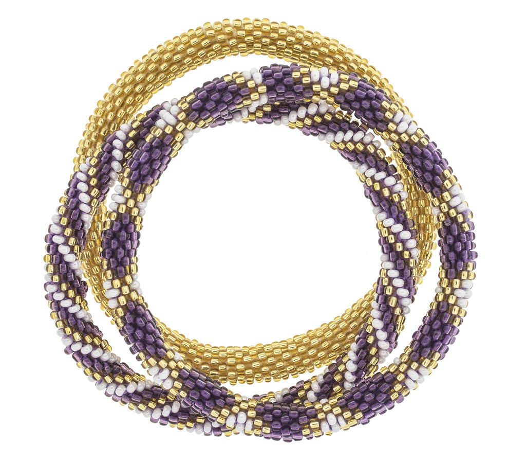 Game Day Roll-On® Bracelets <br> Purple and Gold
