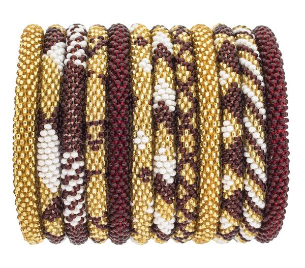 Game Day Roll-On® Bracelets <br> Burgundy and Gold