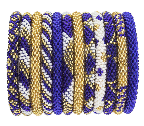Game Day Roll-On® Bracelets <br> Gold and Navy