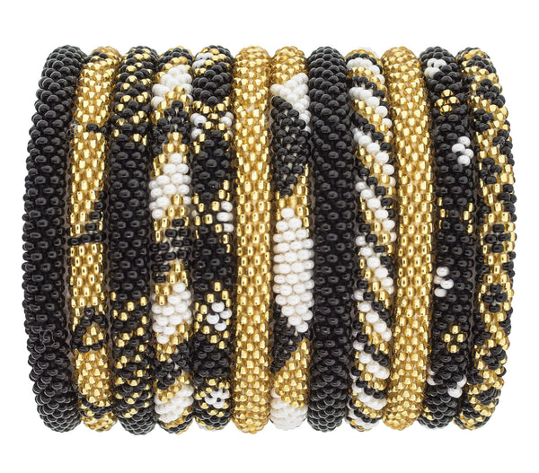 Game Day Roll-On® Bracelets <br> Gold, White and Black