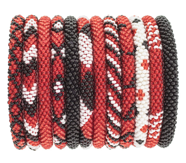 Game Day Roll-On® Bracelets <br> Red, Black and White