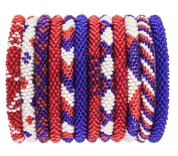 Roll-On® Bracelets Set of 12<br> Red, White, and Blue