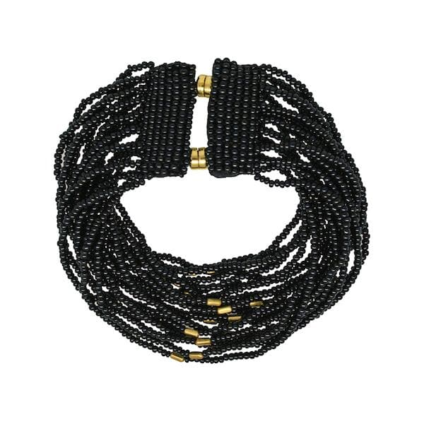 Striped Kanti Bracelet <br> Black and Gold