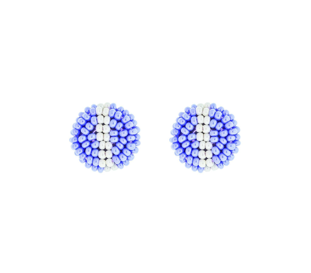 <br>The Button Earring- Stripe <br> Periwinkle