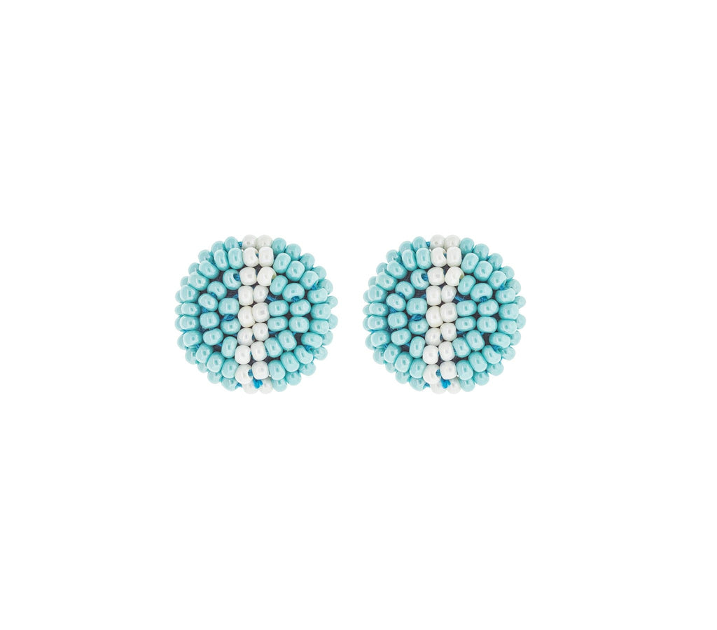 <br>The Button Earring- Stripe <br> Turquoise