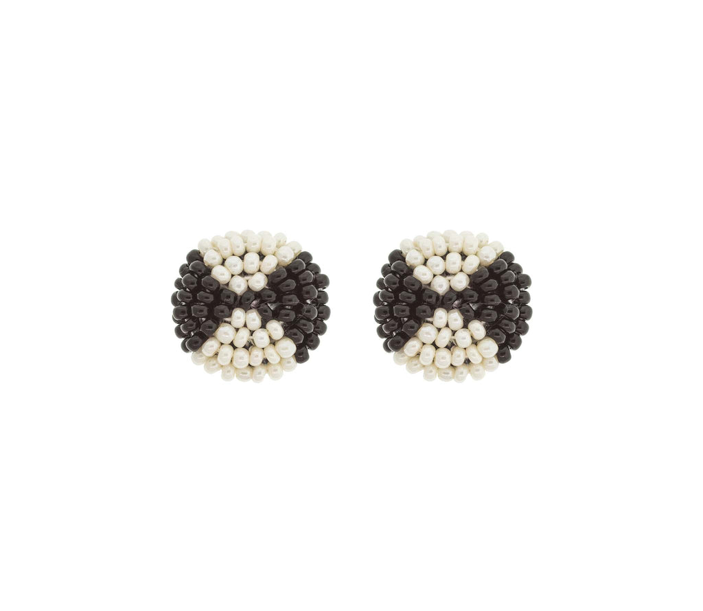 <br>The Button Earring: Bowtie<br> Black and Cream