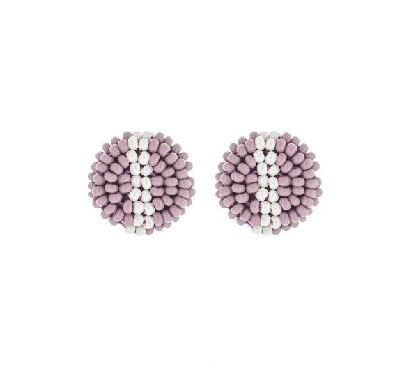 <br>The Button Earring- Stripe <br> Mauve