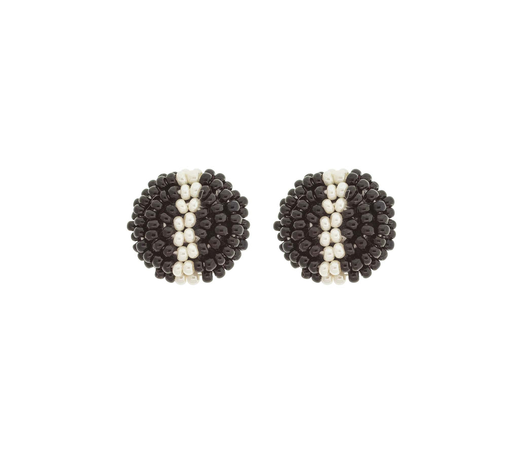 <br>The Button Earring: Stripe<br> Black