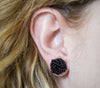 <br>Rosette Earrings<br> Black
