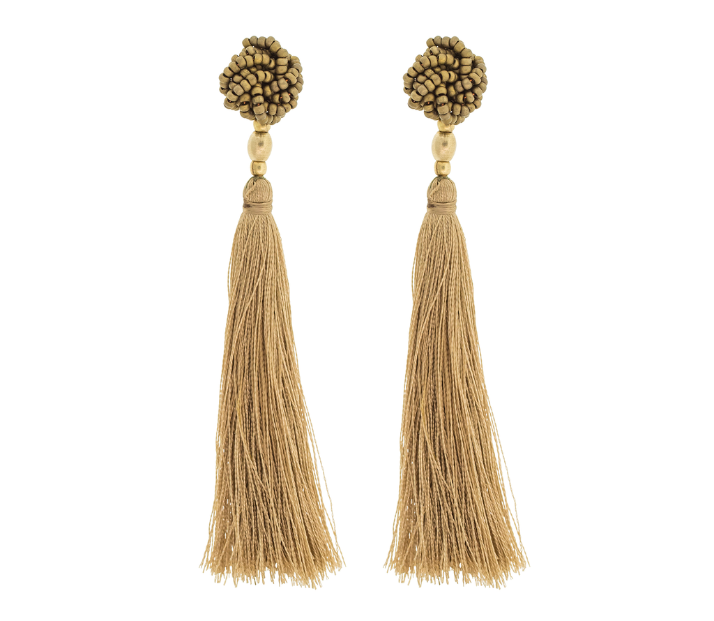 <br>The Rosette Tassel Earring <br> Saffron