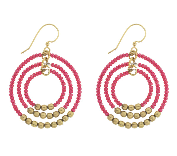 <br> Brass Gyroscope Earrings <br> Flamingo