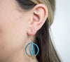 <br> Brass Gyroscope Earrings <br> Aquamarine