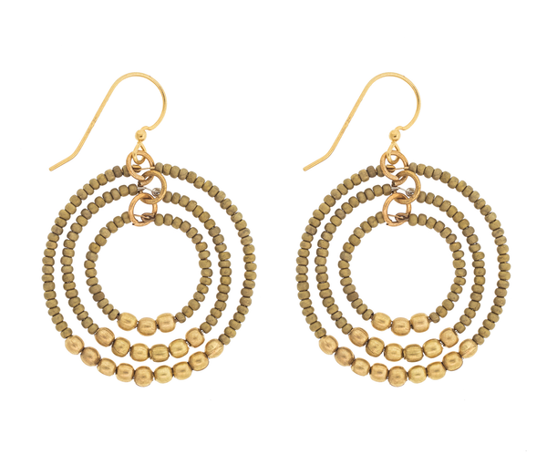 <br> Brass Gyroscope Earrings <br> Saffron