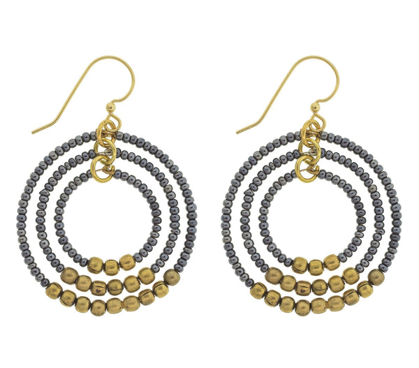<br> Brass Gyroscope Earrings <br> Steel