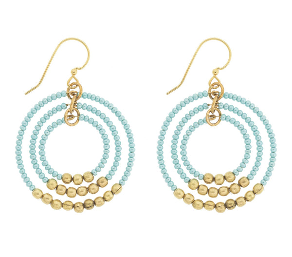 <br> Brass Gyroscope Earrings <br> Turquoise