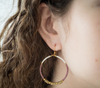 <br> Colorblock Brass Hoop <br> Wildflower