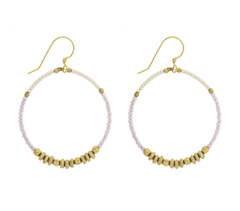 <br> Colorblock Brass Hoop <br> Seashell
