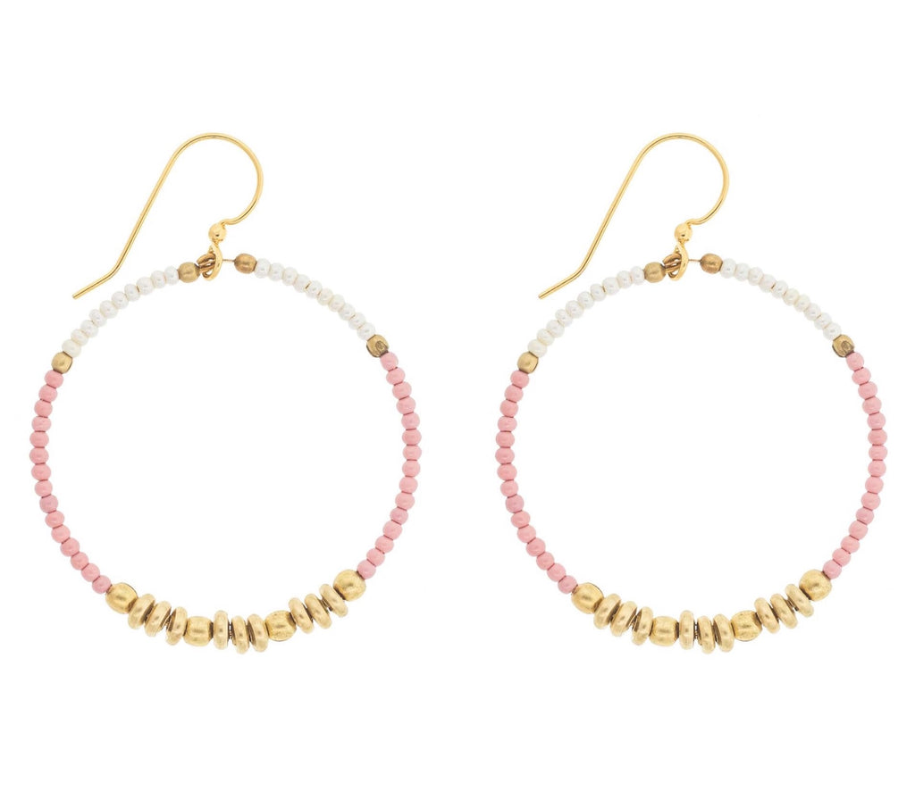 Colorblocked Brass Hoops <br> Desert Rose