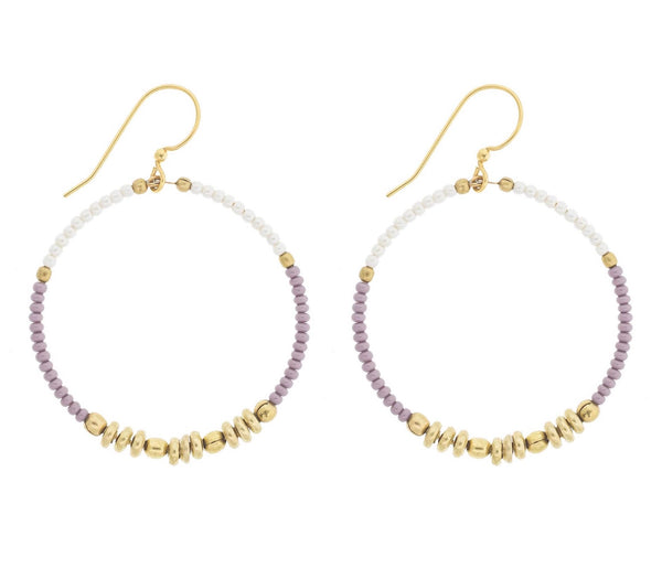 <br>Colorblocked Brass Hoops <br> Mauve