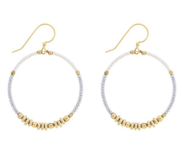<br>Colorblocked Brass Hoops <br> Pixie