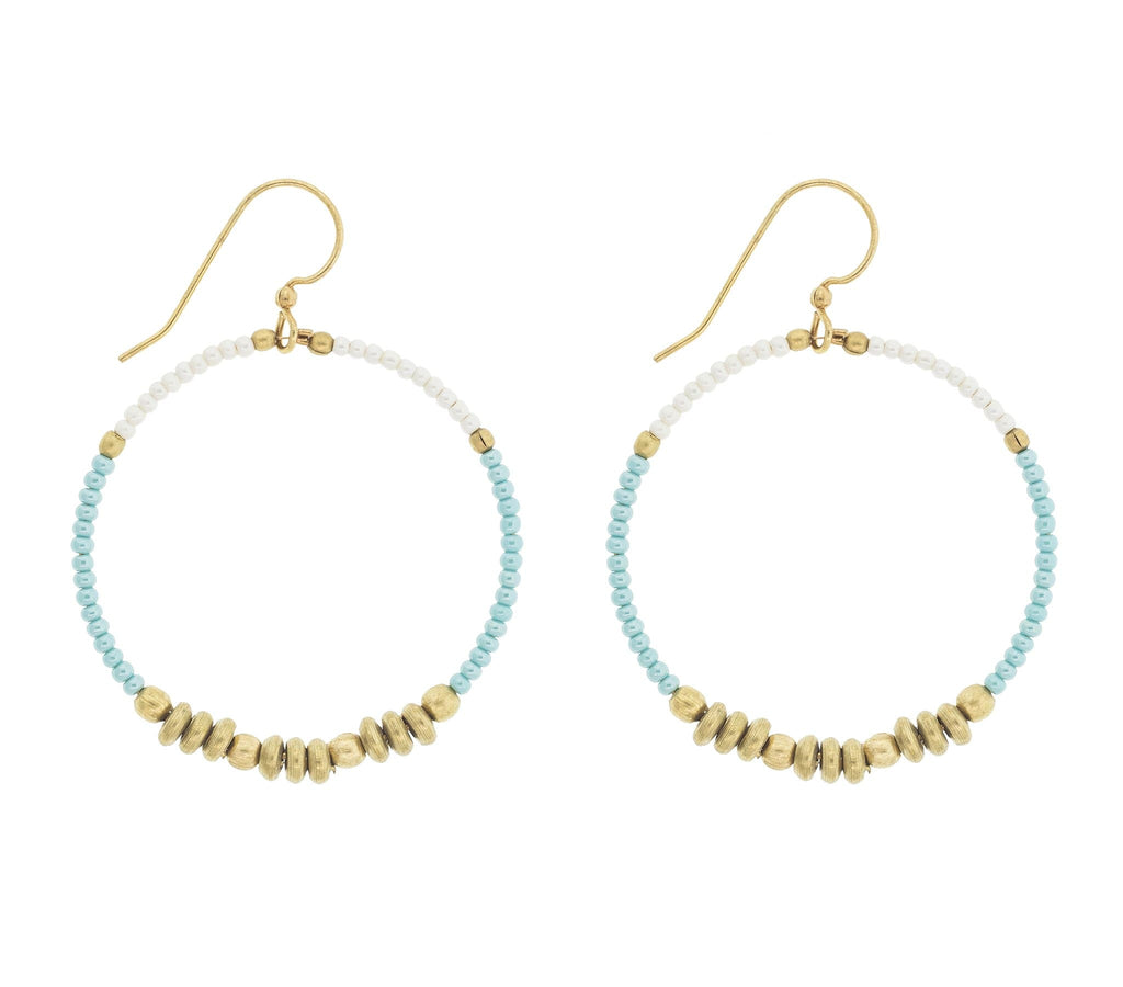 <br>Colorblocked Brass Hoops <br> Turquoise