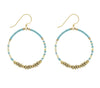 <br> Colorblock Brass Hoop <br> Aquamarine