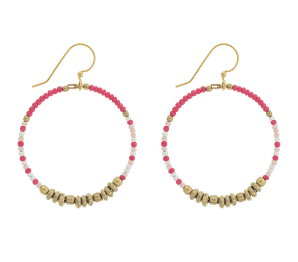 <br> Colorblock Brass Hoop <br> Flamingo