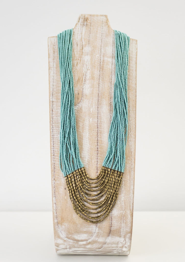 Long Tiered Hema Necklace <br> Turquoise