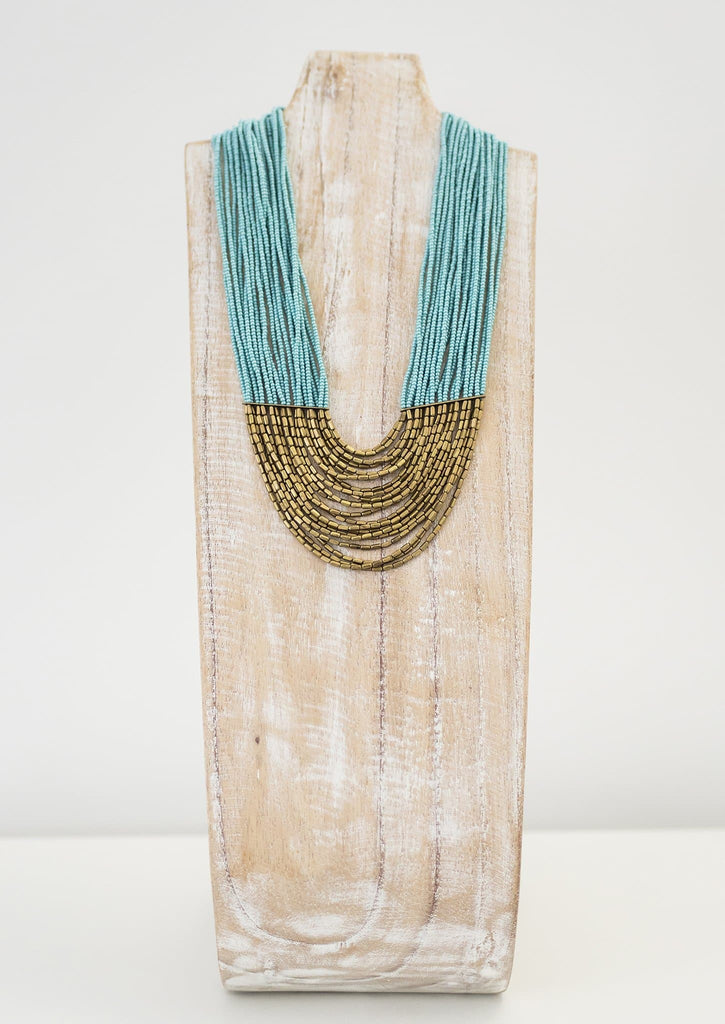Short Tiered Hema Necklace <br> Turquoise