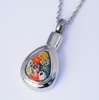 "Cremation Ashes Jewellery Keepsake Necklace Urn ""Rainbow Drop"""