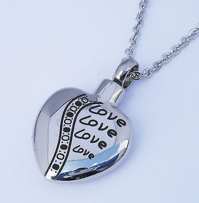 "Cremation Ashes Jewellery Keepsake Necklace Urn ""Love heart"" ENGRAVABLE*"