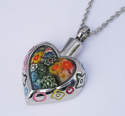 "Cremation Ashes Jewellery Keepsake Necklace Urn ""Rainbow Heart"" ENGRAVABLE*"