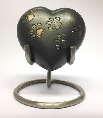 Paw Print Pet Heart Keepsake Urn inc Stand and Box