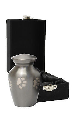 Silver Paw Print Pet Keepsake Cremation Urn inc velvet box
