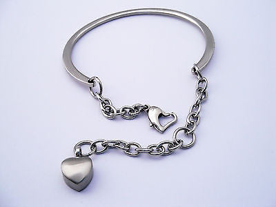 "Cremation Ashes Jewellery Keepsake Bracelet Urn ""Heart Charm"""