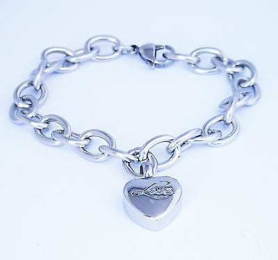 "Cremation Ashes Jewellery Keepsake Bracelet Urn ""Love Charm"""