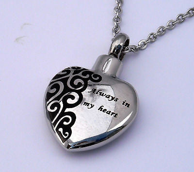 "Cremation Ashes Jewellery Keepsake Necklace Urn ""Always in my heart"" ENGRAVABLE*"