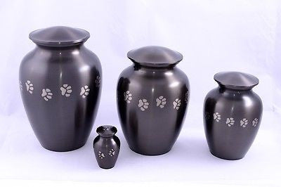 Silver Paw Print Walk Pet Cremation Urn keepsake,heart,small,med,large