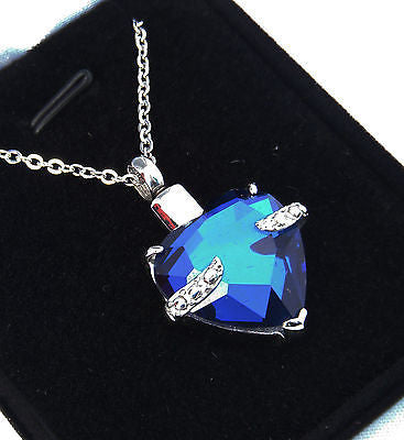 "Cremation Ashes Jewellery Keepsake Necklace Urn ""Blue Embrace"" ENGRAVABLE*"