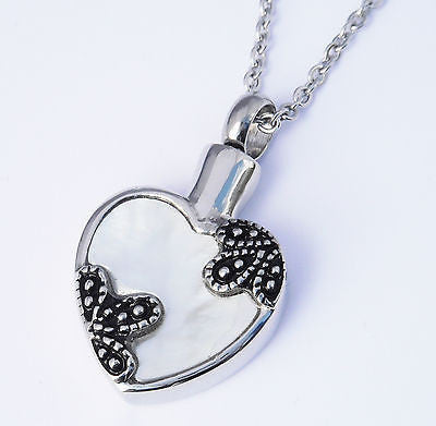 "Cremation Ashes Jewellery Keepsake Necklace Urn ""Floral Heart"" ENGRAVABLE*"
