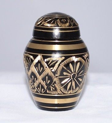 Black Engraved Keepsake Cremation Urn inc velvet box