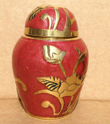 Golden Parker Flower Keepsake Cremation Urn inc velvet bag