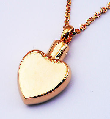 "Cremation Ashes Jewellery Keepsake Necklace Urn ""Heart of Gold"" ENGRAVABLE*"