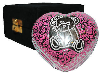 Pink Bear Infant Heart Keepsake Cremation Urn inc velvet box GRADE B