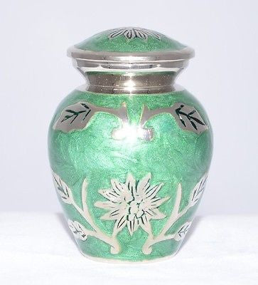 Light Green Leaf Keepsake Cremation Urn inc velvet box