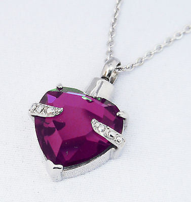 "Cremation Ashes Jewellery Keepsake Necklace Urn ""Purple Embrace"" ENGRAVABLE*"