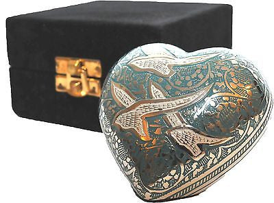 Doves in Flight Heart Keepsake Cremation Urn inc velvet box
