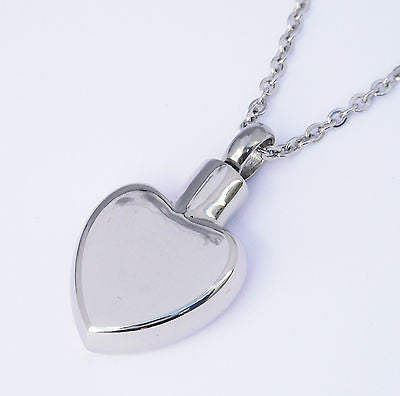 "Cremation Ashes Jewellery Keepsake Necklace Urn ""Silver Heart"" ENGRAVABLE*"