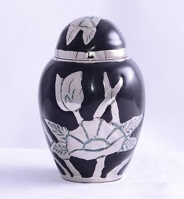 Black Flower Keepsake Cremation Urn